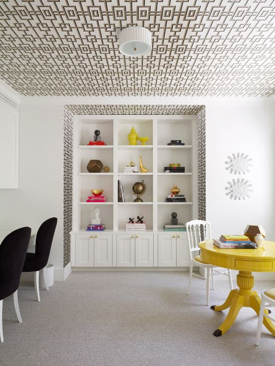 geometric patterned ceiling