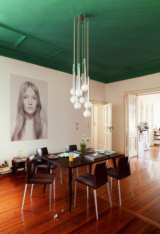 grass green dining area ceiling