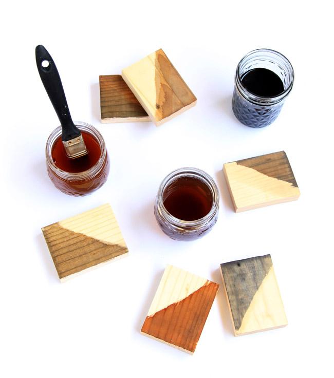 DIY wood stain in various shades (via apieceofrainbow)