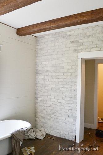 How to whitewash a brick bathroom (via beneathmyheart)