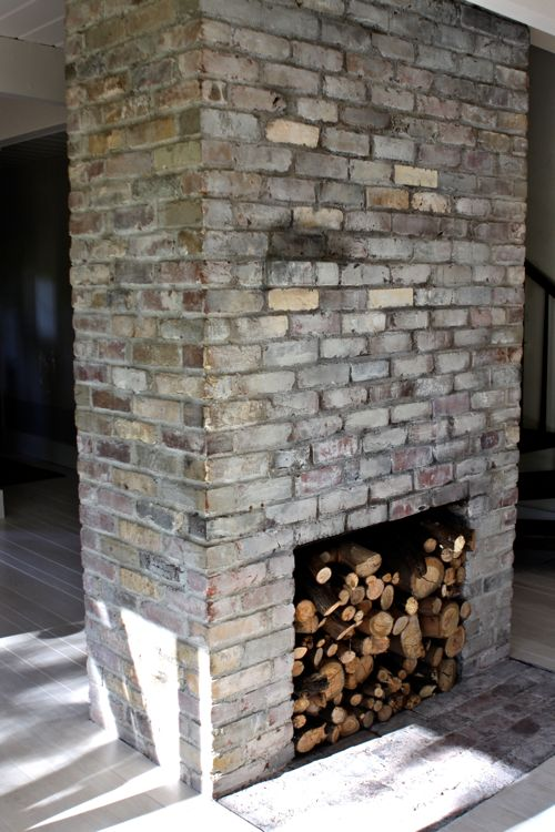 White Brick Fireplace Dark Walls
