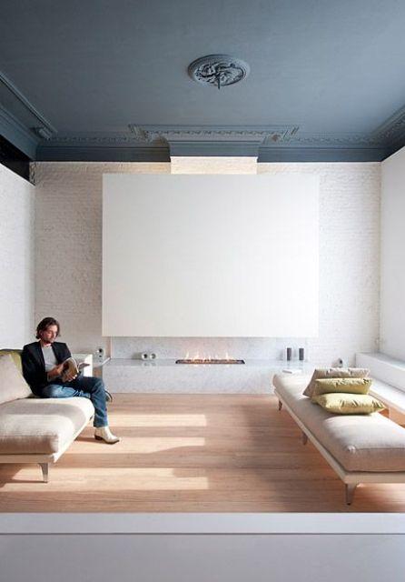 matte grey living room ceiling