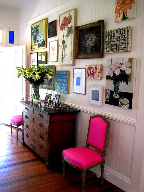 mismatching colorful gallery wall