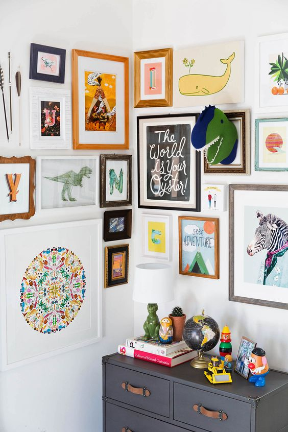 modern bold gallery wall with kids art