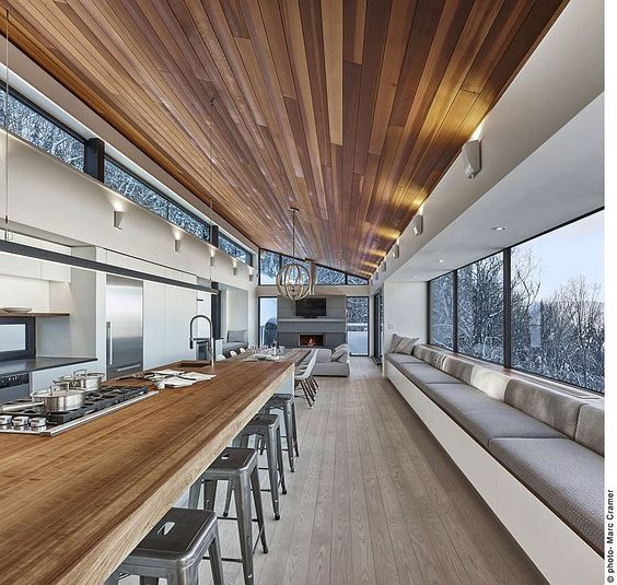 modern planked wooden ceiling