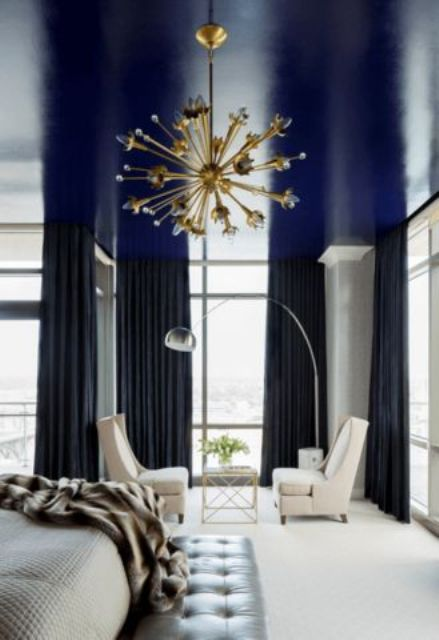 navy living room ceiling