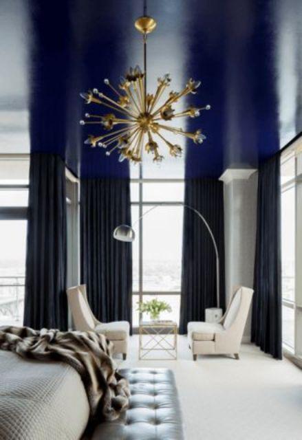 navy living room ceiling