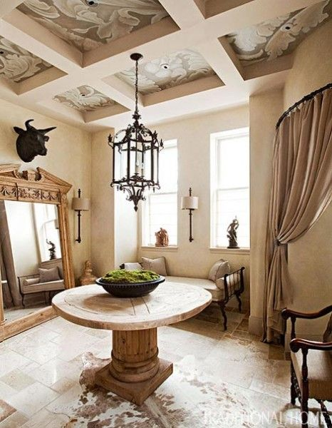 Delicieux Patterned Beige Dining Room Coffered Ceiling