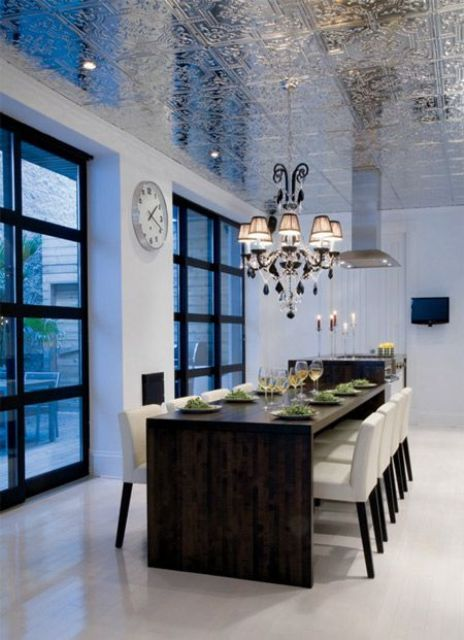 patterned silver ceiling