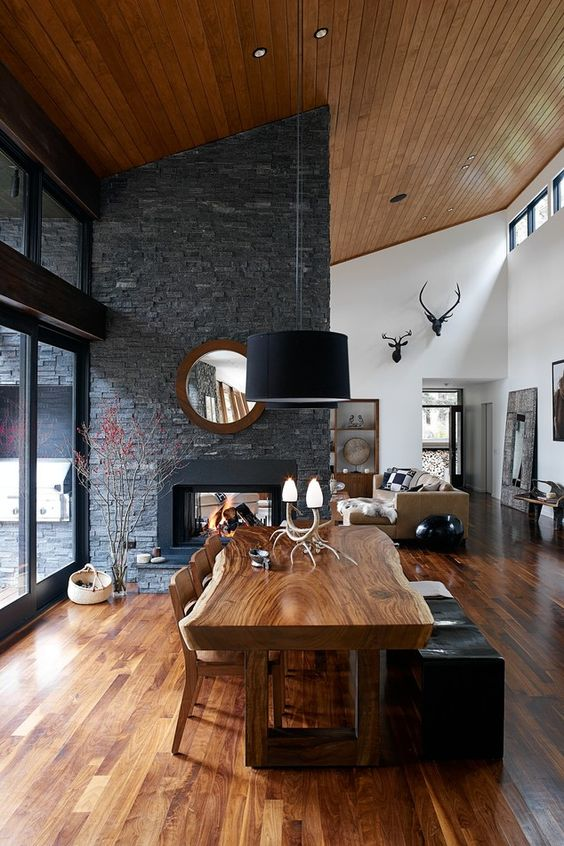 rich colored wooden ceiling