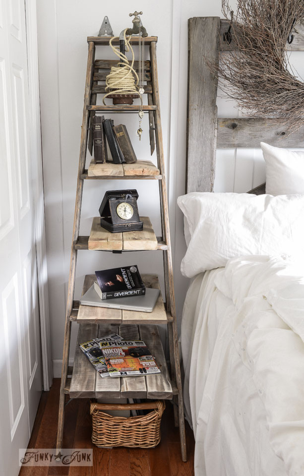Rustic And Vintage-Inspired DIY Stepladder Nightstand