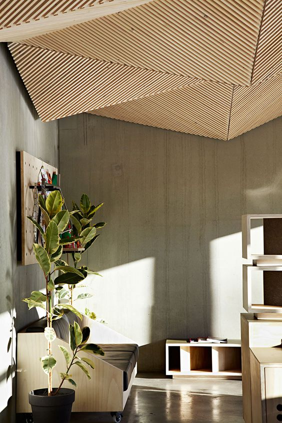 sculptural geometric wooden ceiling