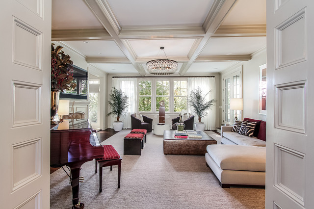 36 stylish and timeless coffered ceiling ideas for any - White and silver living room ...
