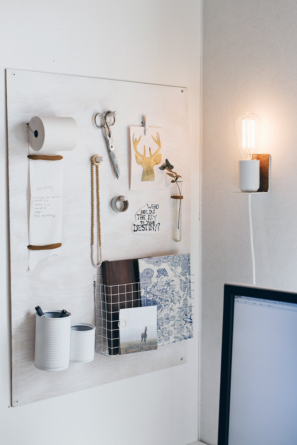 Picture Of small diy wall lamp with a touch of leather  2