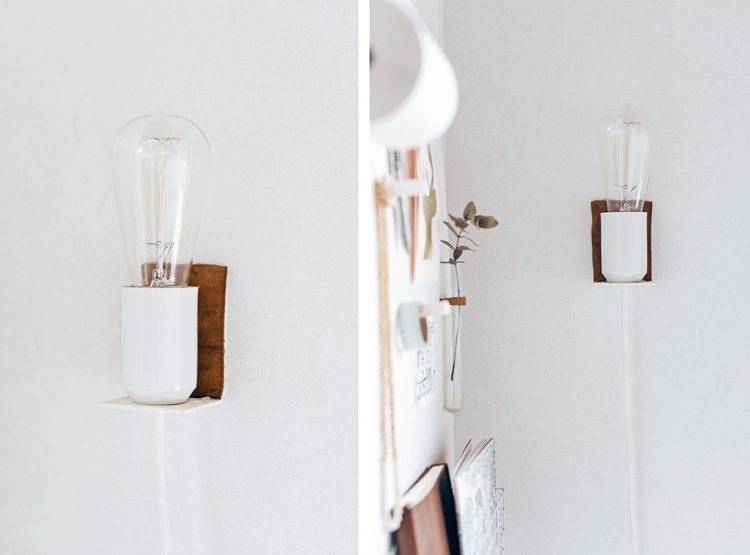 Small DIY Wall Lamp With A Touch Of Leather - Shelterness