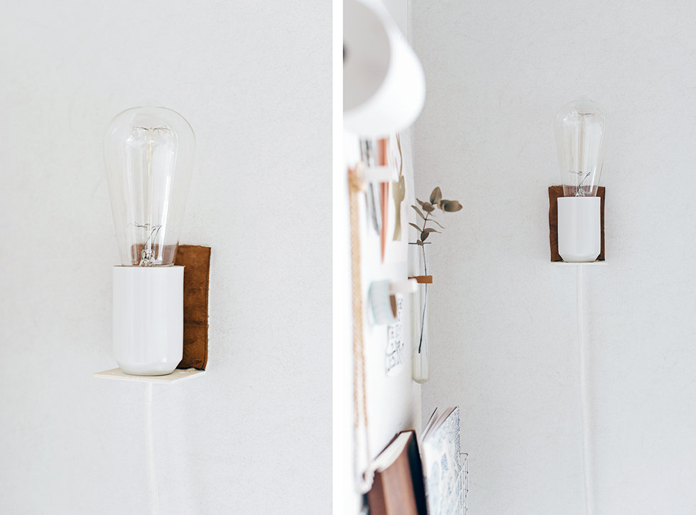 Picture Of small diy wall lamp with a touch of leather  4