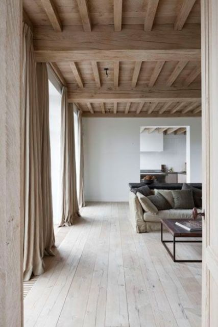 smooth yet rustic wooden ceiling with beams