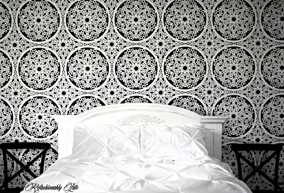 DIY lace feature wall