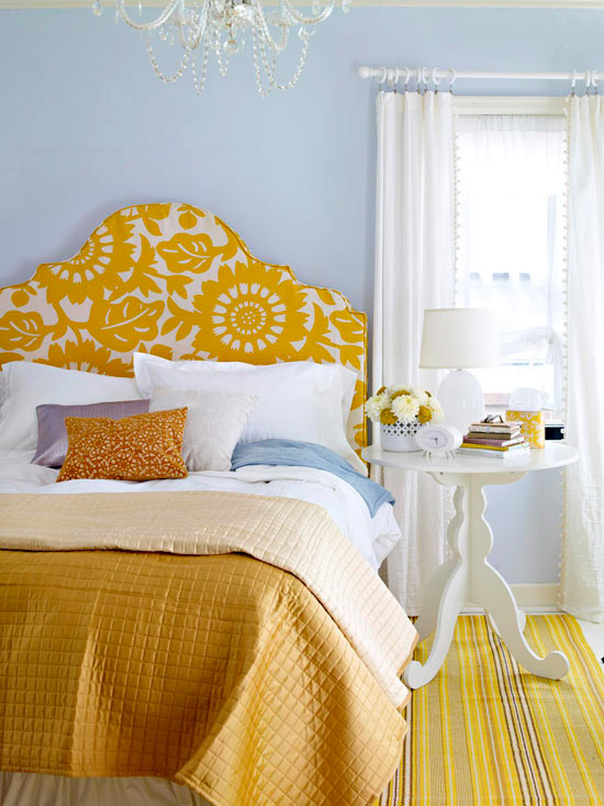 DIY bold upholstered headboard (via bhg)