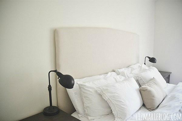 DIY upholstered headboard (via lizmarieblog)