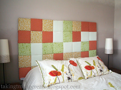 DIY patchwork headboard (via takingtimetocreate)