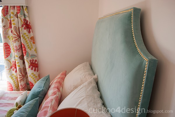 DIY upholstered headboard with brass nails (via cuckoo4design)