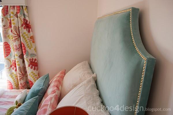 DIY upholstered headboard with brass nails (via cuckoo4design)