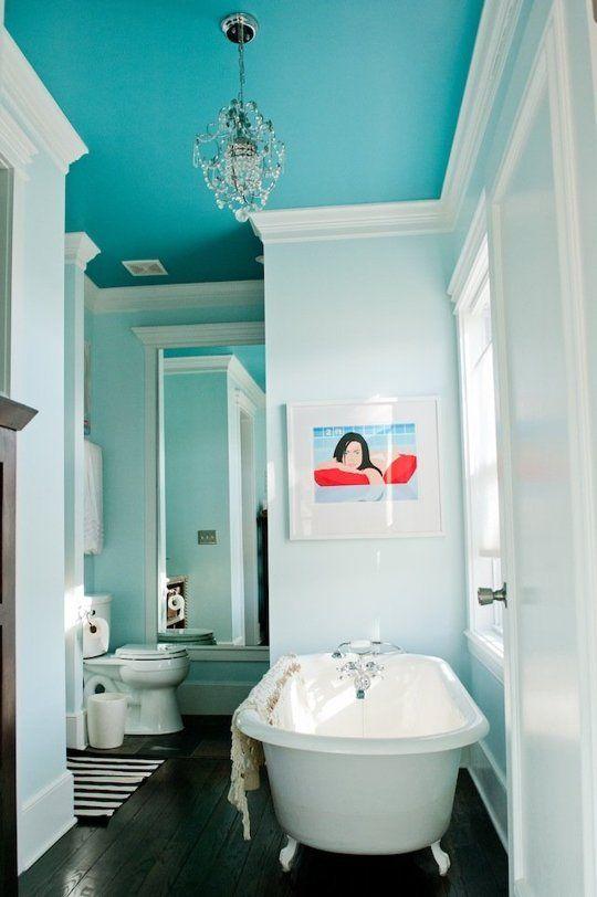 turquoise bathroom ceiling