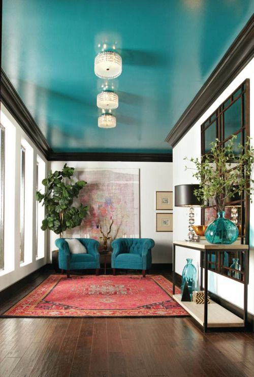 turquoise entryway ceiling