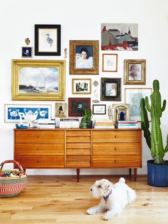 vintage artwork gallery wall
