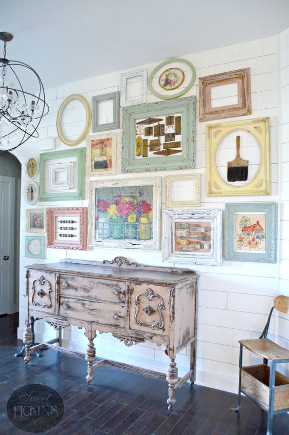 vintage pastel gallery wall with tools