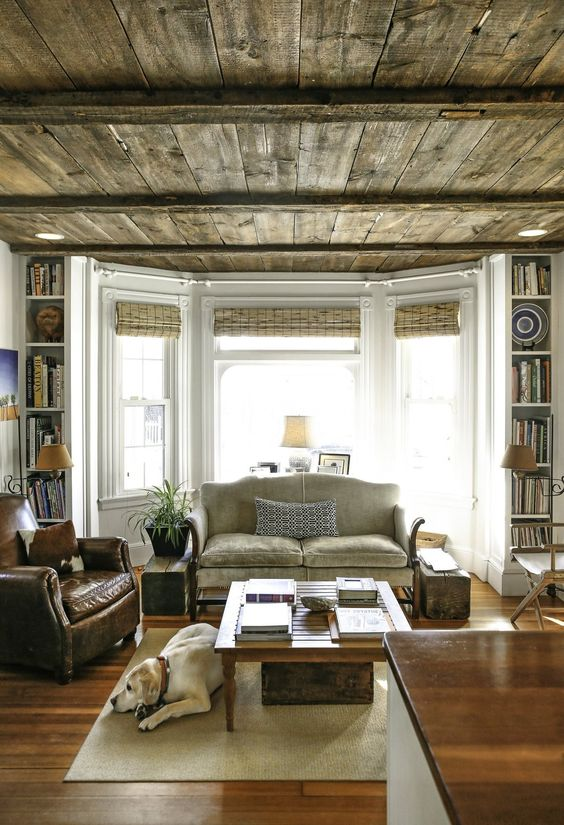 weathered wooden ceiling
