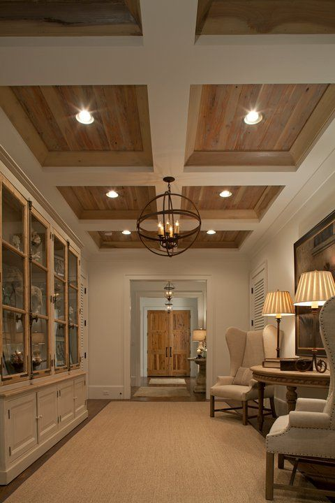 wethered wood and white coffered ceiling