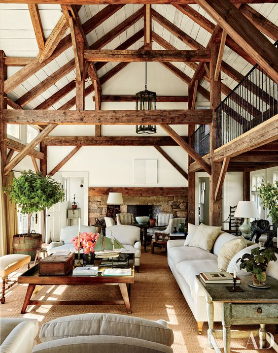 white and natural-color wooden ceiling with beams
