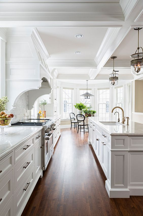 white kitchen coffered ceiling