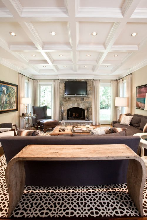 White Living Room Coffered Ceiling