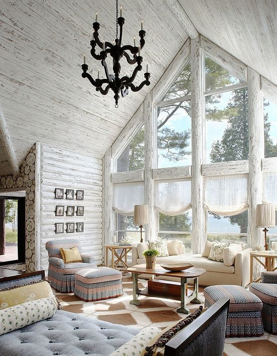 Charming Whitewashed Weathered Wooden Ceiling