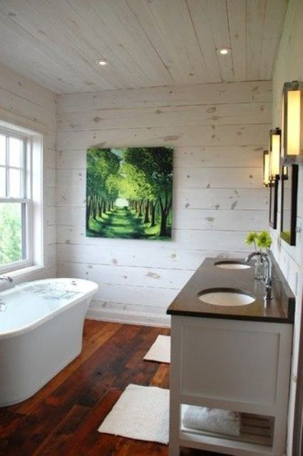 whitewashed wooden bathroom ceiling