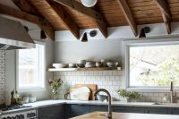 wooden ceiling with rustic beams