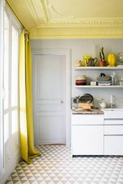 yellow kitchen ceiling