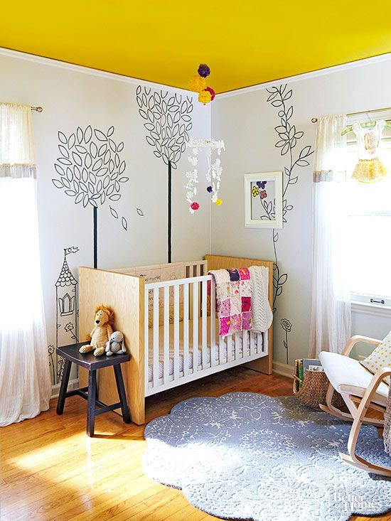 yellow nursery ceiling