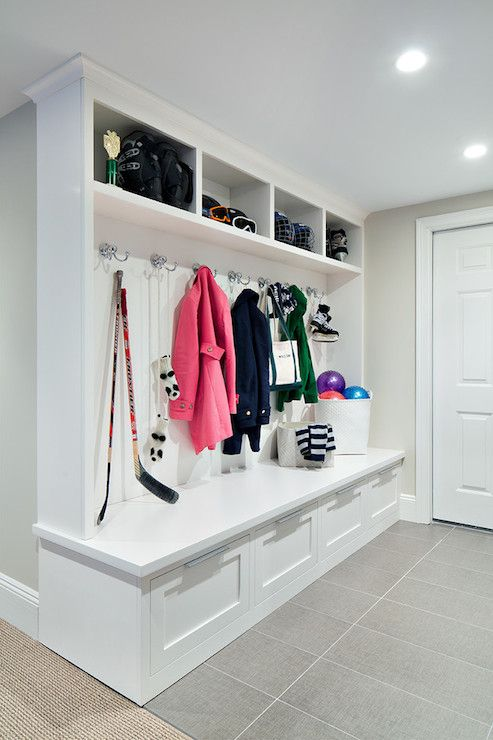 all-white mudroom locker