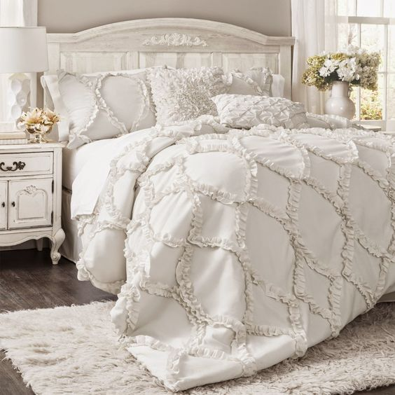 all-white shabby chic bedroom for a girl