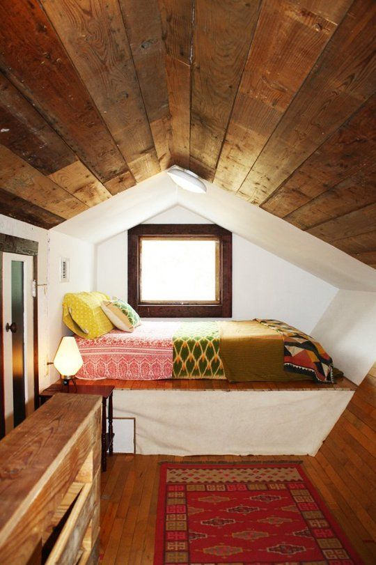 attic sleeping nook in mid-century modern style & 26 Cozy Tiny Attic Nooks And Ideas To Decorate Them - Shelterness