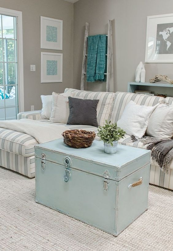 Picture of coastal shabby chic living room for Trendy living room