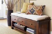 02 cushion entryway bench with drawers and storage space