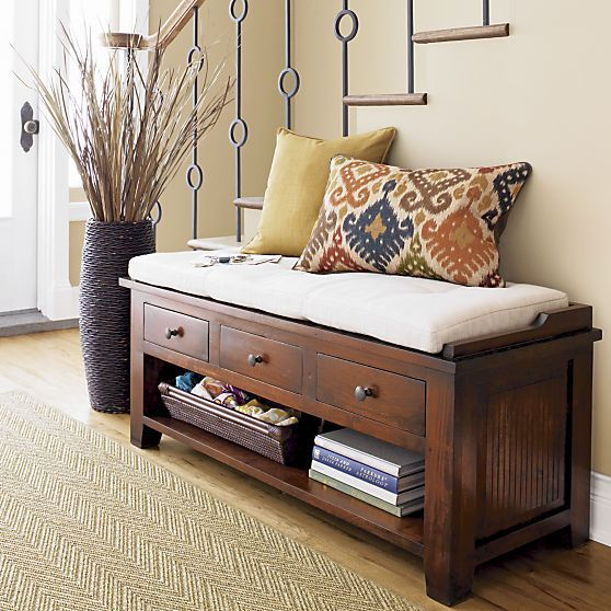 cushion entryway bench with drawers and storage space