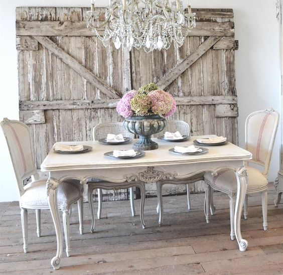 whitewashed French-style shabby dining area