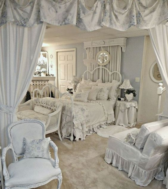 Beau All White Shabby Chic Bedroom With Ruffled Textiles
