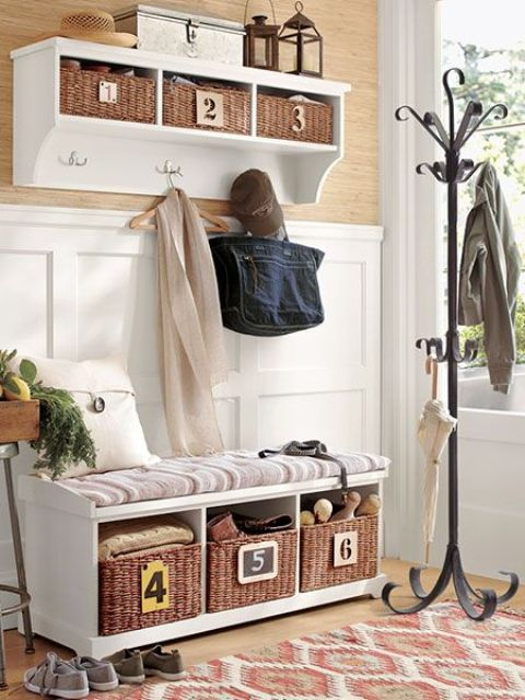 cushion mudroom bench with storage space